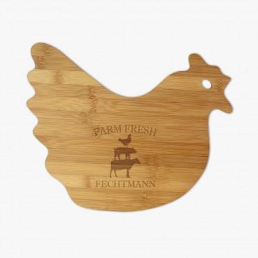 Farm Fresh Custom Hen-Shaped Bamboo Cutting Board