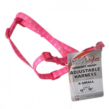 Pet Attire Styles Polka Dot Pink Comfort Wrap Adjustable Dog Harness - Fits 12 in. - 18 in. Girth - 3/8 in. Straps