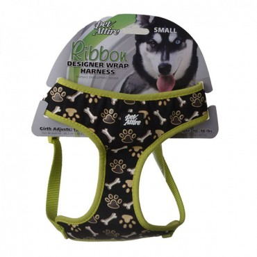 Pet Attire Ribbon Brown Paw and Bones Designer Wrap Adjustable Dog Harness - Fits 19 in. - 23 in. Girth - 5/8 in. Straps
