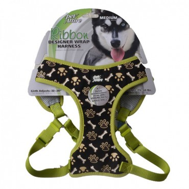 Pet Attire Ribbon Brown Paw and Bones Designer Wrap Adjustable Dog Harness - Fits 22 in. - 28 in. Girth - 3/4 in. Straps