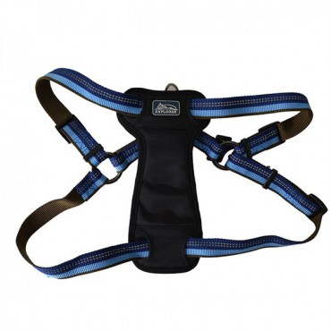 K9 Explorer Sapphire Reflective Adjustable Padded Dog Harness - Fits 26 in. - 38 in. Girth - 1 in. Straps