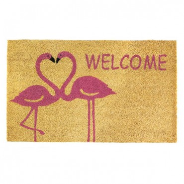 Flamingo Love Welcome Mat