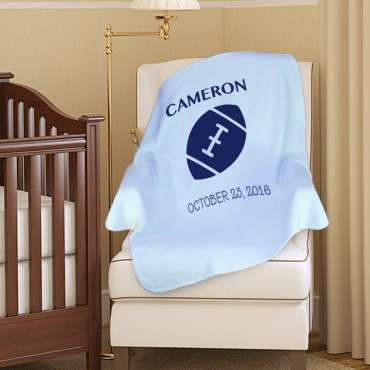 Custom Football Plush Baby Blanket