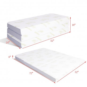 6 Ft. Sofa Bed Guests Floor Tri-Folding Memory Mattress
