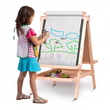 All In One Kid s Double Side Wooden Art Easel With Paper Roll