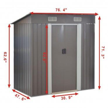 4 x 6.2 Ft. Outdoor Galvanized Steel Tool Storage Shed With Sliding Door
