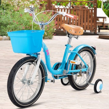 12 In. Outdoor Sports Kids Bike With Training Wheels Basket Bell