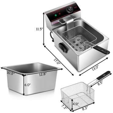 2500W Single Electric Deep Fryer With Basket Scoop Unit