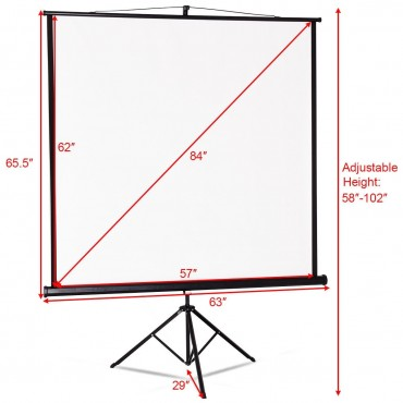 84 In. Tripod Floor Stand Manual Pull Up Projection Screen