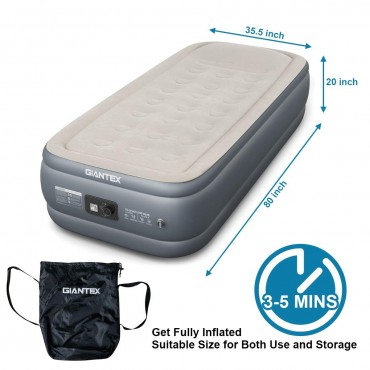 20 In. Inflatable Airbed Built-In Pump Air Mattress