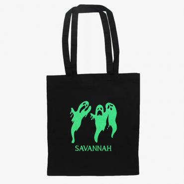 Ghoulish Ghosts Glow In The Dark Custom Black Cotton Tote Bag