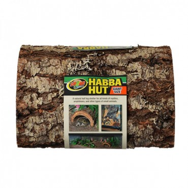 Zoo Med Habba Hut Natural Half Log with Bark Shelter - Giant - 11 in. L x 9.5 in. W x 5.5 in. H
