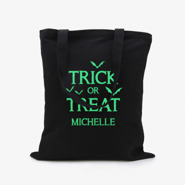 Glow In The Dark Trick Or Treat Custom Black Cotton Tote Bag