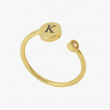 Yellow Gold Tone Stainless Steel Personalized w/ Initial Adjustable CZ Stone Ring