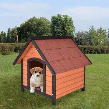 Dog House Pet Outdoor Wood Shelter