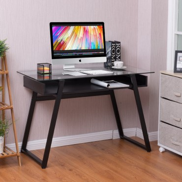 Home Glass Top Writing Study Computer Desk