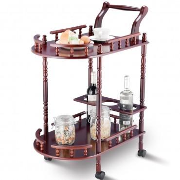 Wood 2-Tier Kitchen Serving Bar Trolley Cart