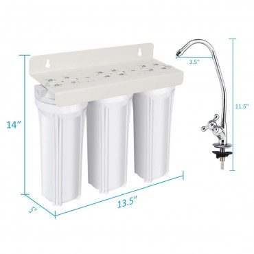 3 - Stage Under - Sink Water Filter System With Chromed Faucet