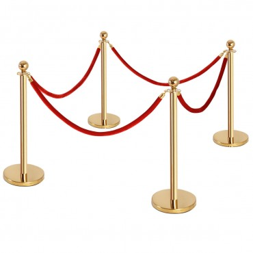 4 Pcs Stanchion Posts Queue Pole