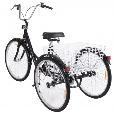 Black Single Speed Tricycle With Adjustable Seat Large Wheels