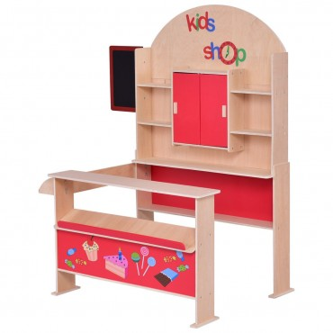 Red Wooden Toy Shop Pretend Play Set
