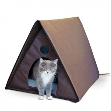 K & H Outdoor Heated A-Frame Cat House - Multi-Cat - Heating Pad Included - 35 in. L x 20 in. W x 20 in. H