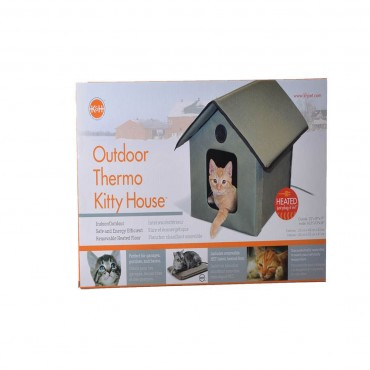 K and H Outdoor Kitty House - Heated - Heating Pad Included - 22 L x 18 W x 17 H