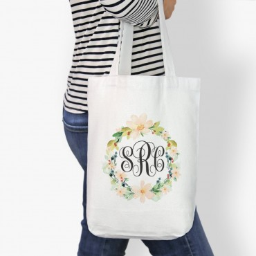 Hibiscus Wreath Monogrammed Cotton Tote Bag