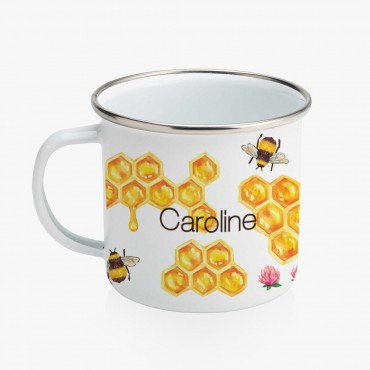 Honey Comb Personalized Enamel Coffee Mug