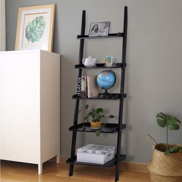 5-Tier Leaning Wall Storage Display Shelf Ladder