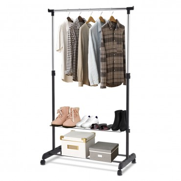 Rolling Clothes Hanger With Height Adjustable Shoe Rack
