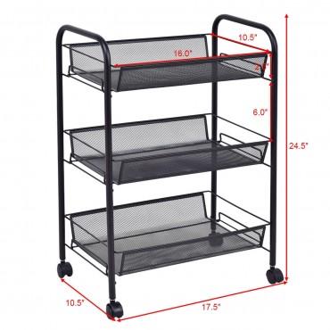 Black 3 Tier Storage Rack Trolley Cart