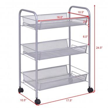 Gray 3 Tier Storage Rack Trolley Cart