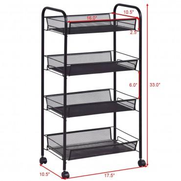Black 4 Tier Storage Rack Trolley Cart