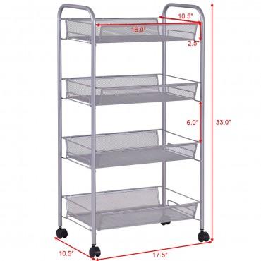 Gray 4 Tier Storage Rack Trolley Cart