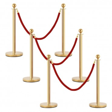 6 Pcs Stanchion Posts Queue Pole Crowd Control Barrier