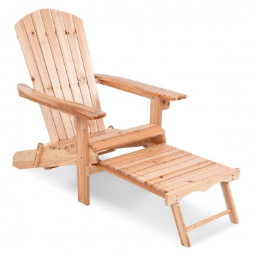 Patio Foldable Wood Adirondack Chair W / Footrest Stool