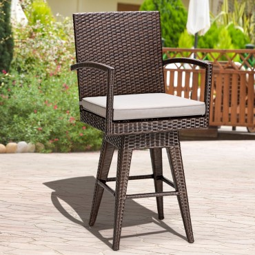 Outdoor Wicker Swivel Bar Stool Chair W / Seat Cushion