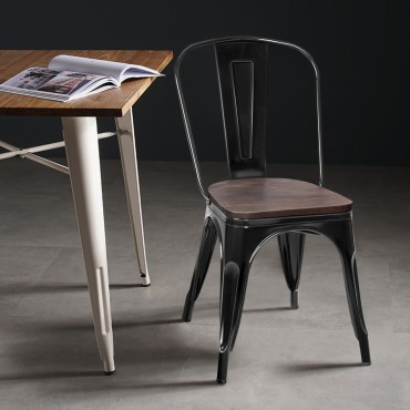 Set Of 4 Stackable Tolix Style Metal Wood Dining Chair