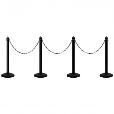 4 Pcs Set Plastic Stanchion 39.5 In. Chain C-Hooks Fillable Base