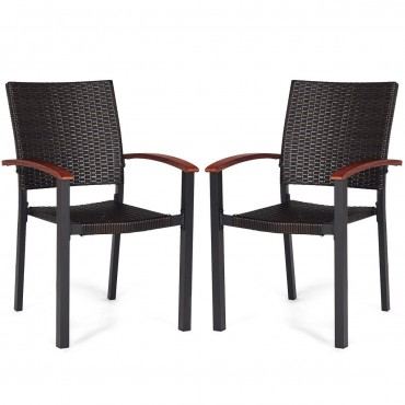 2 pcs Patio Dining Armchair Stackable Rattan Wicker Chairs