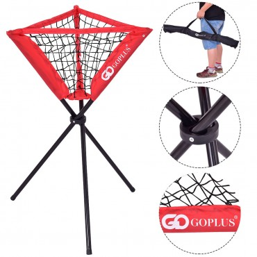 Goplus Portable Softball Practice Ball Caddy With Carry Bag