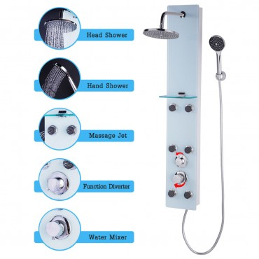 47 In. Tempered Glass Shower Panel