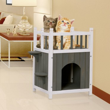 Wooden Cat Pet Home with Balcony