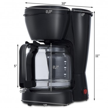 900 W 10 - Cup Coffee Maker Machine With Glass Carafe