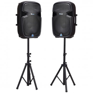 Dual 15 In. 3000 W Powered Speakers With Bluetooth