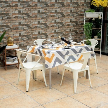 Set Of 4 Tolix Style Metal Chairs Arm Chairs