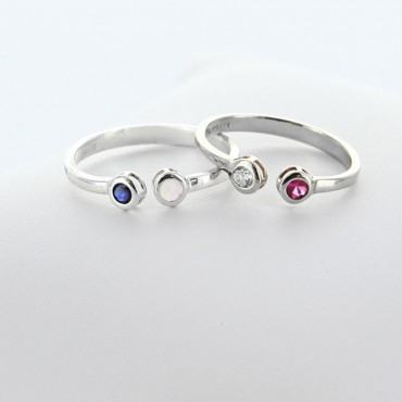 Dual Birthstone Couples Stackable Open Ring in Sterling Silver
