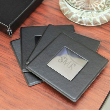 5 Piece Black Coaster Set 3.5