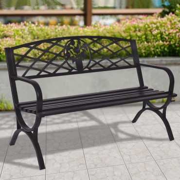 50 In. Patio Black Decent Garden Bench